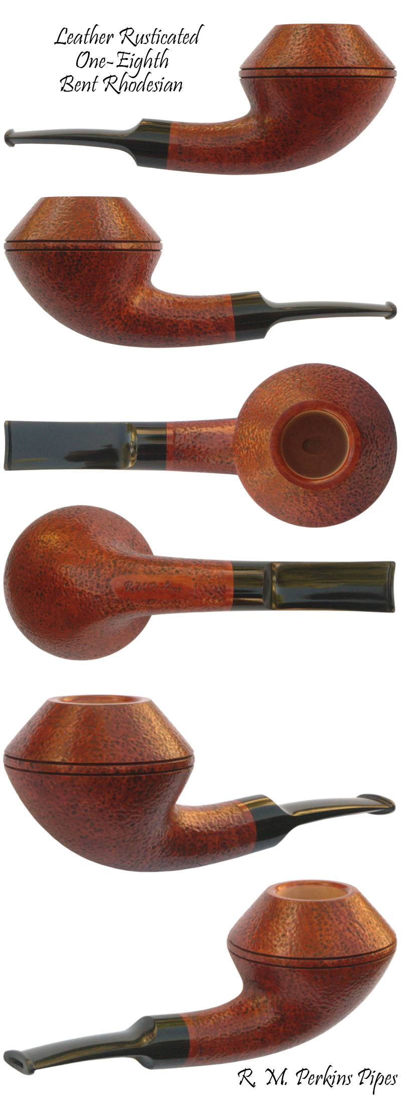 Leather Rusticated 1/8 Bent Rhodesian Smoking Pipe